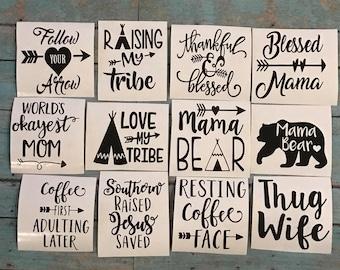 Mug decals // mama bear // coffe decal // yeti decal // momlife decal