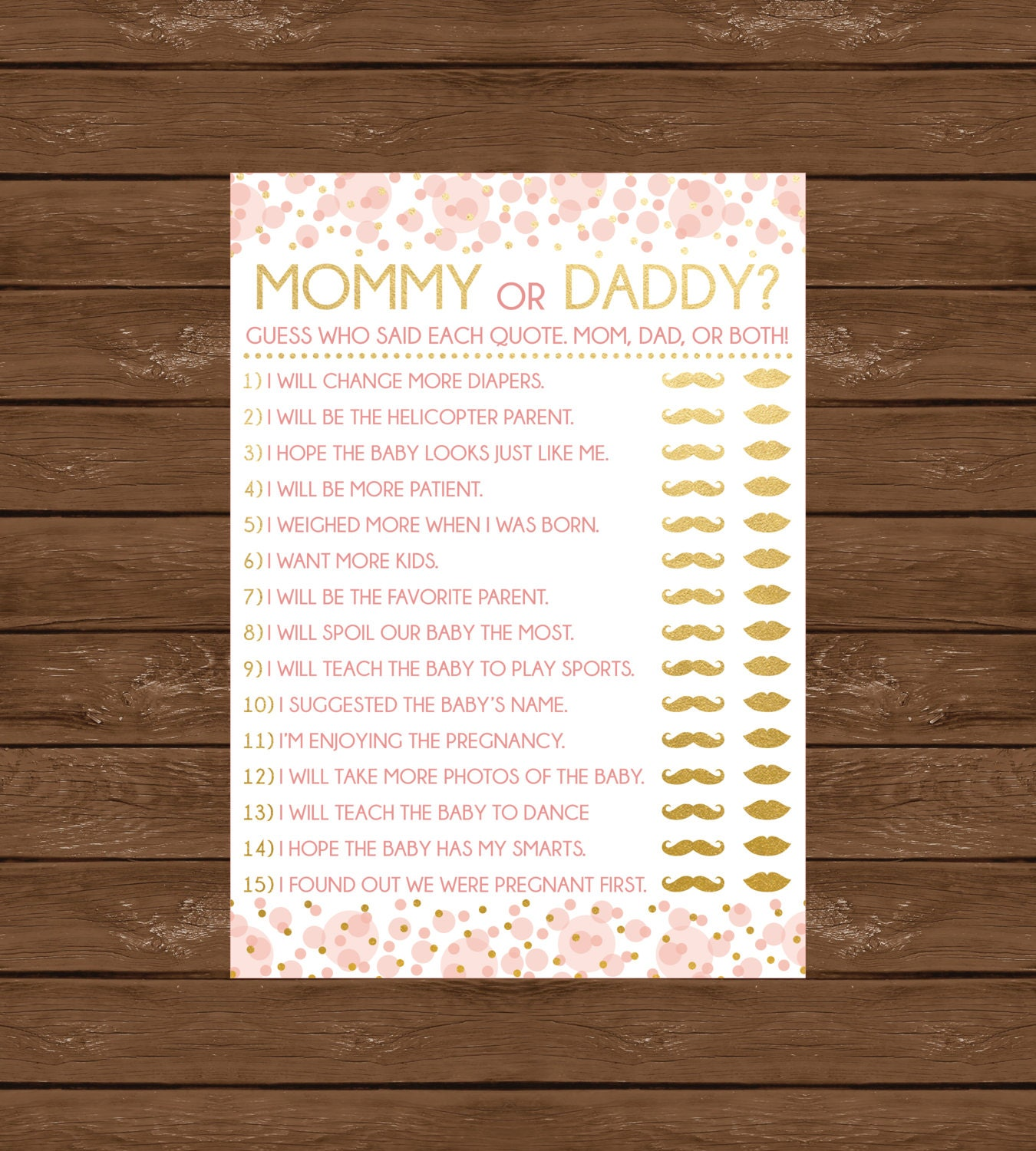 Downloadable Baby Shower Games: Mommy Or Daddy Printable Baby Shower Game Instant Download