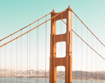 Golden Gate Photograph - Golden Gate Bridge Art - San Francisco Bay Fine Art Print - Photography, Orange, Teal, SF Skyline, Bay Area Art