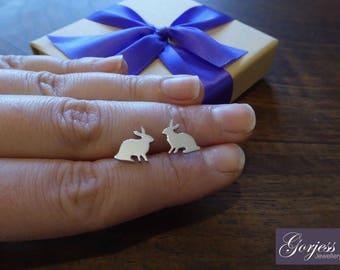 Little Rabbit Stud Earrings - Handmade Rabbit Studs - Silver Hare Earrings