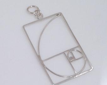 Fibonacci Golden Spiral Pendant - vertical - in Solid Argentium Sterling Silver