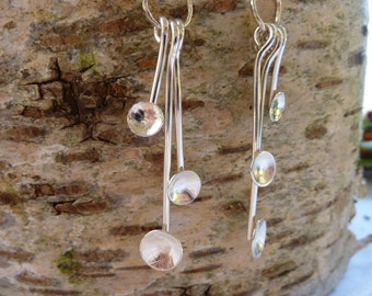 Textured dome cup drop earrings: Handmade, sterling silver