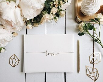 Wedding Guest Book & Box.  Guest Book with 'Love' printed on the cover. Available in Ivory with Gold text and White with Silver text.
