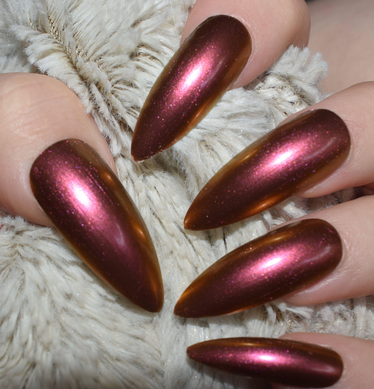 Copper Duo Chrome Fake Nails, Extra Long Stiletto False Nails, Hand ...
