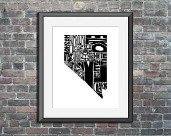 Nevada typography map art unframed print customizable personalized state poster custom wall decor engagement wedding housewarming gift