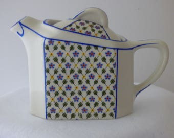 Single Serve Hall Teapot or hot water pot, part of a Twin-Tee set, blue and yellow decoration, touches of green and red