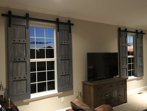 Interior Window Barn Shutters - Sliding Shutters - Barn Door Shutter Hardware Packages Available  - Farmhouse Style - Rustic Wood Shutter