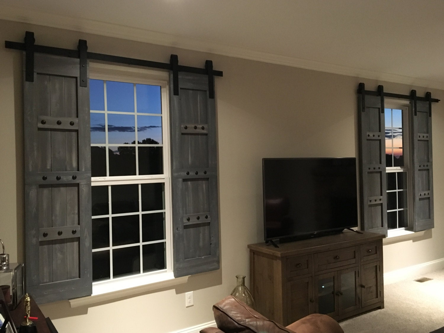 Interior Window Barn Shutters - Sliding Shutters - Barn Door Shutter Hardware Packages Available - Farmhouse Style - Rustic Wood Shutter & Interior Window Barn Shutters - Sliding Shutters - Barn Door Shutter ...