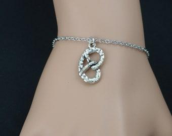 pretzel bracelet, sterling silver filled, silver pretzel charm, salted pretzel jewelry, funny cute gift, christmas gift, adjustable bracelet