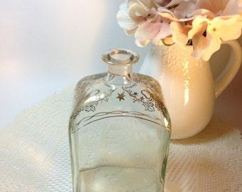 Vintage Liquor Bottle Gold Adorned Glass Liquor Bottle Collectible Barware Vintage Vignette Shabby Cottage Chic Vase Decorative Accent