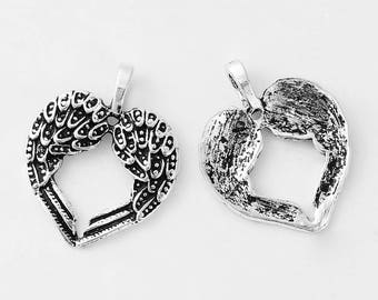 2 Antique Silver Wing Heart Pendants 30 x 24mm (B247a)