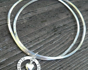 LIMITED TIME SALE Unique Double Bangle with Personalized Charm - May Choose Center Charm and Phrase or Names - Solid Hand Stamped Sterling S
