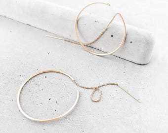 Threaded Hoop Earrings / 14k gold fill / featherweight dainty earrings