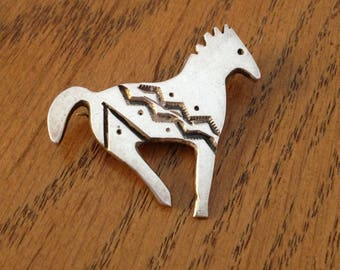 Native American Sterling Silver Pony Horse Brooch or Pin