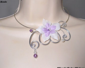 Wedding necklace, aluminum, light purple silk flower ceremony necklace, wedding engagement - ladies Rosie Collection