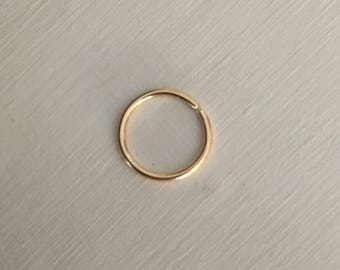 20g Gold (14k) Continuous Ring (Cartilage or Nose Piercing)