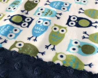 Travel Pillowcase - Multi Color Owl Print Minky with Navy Dimple Dot Minky Border - great for a Toddler or Travel Pillow