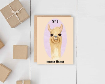 Mama Llama Card // Luxury Designer Pretty Mother's Day Card // Spring May June // Quirky Funny Artsy