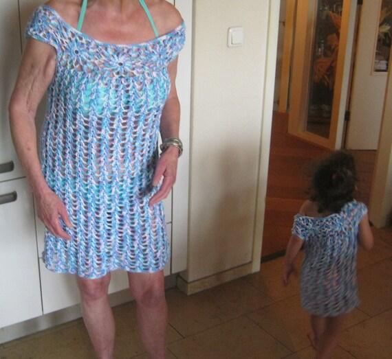 Muster häkeln Tunika oder Strand-Kleid für Damen