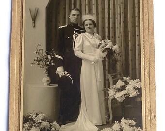 Vintage Wedding Ephemera . Vintage Wedding Photo . Antique Wedding Dress . Formal Wedding . Uniform . Cabinet Photo . Vintage Photograph .