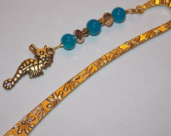 Gold Plated Seahorse Blue and Gold Beaded Golden Bookmark