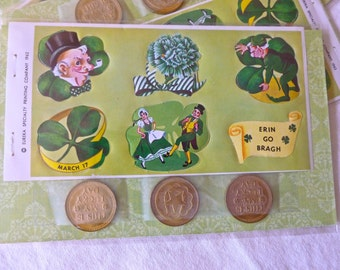 Vintage Stickers, St. Patrick's Day, Brass Lucky Coins,  Irish Erin Go Bragh,  Brass Tokens, St. Patrick, March 17th,  Horseshoe Coins