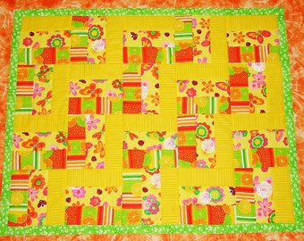Quilted Baby Blanket Yellow Orange Green PInk