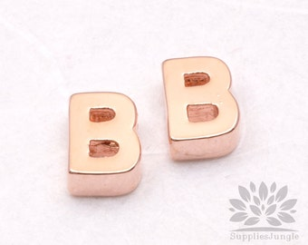 "IP002-GRG-B// Glossy Rose Gold Plated Simple Initial ""B"" Pendant, 2 pcs"