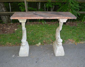Marble patio table etsy 3 piece patio console table with koi fish bases and marble top watchthetrailerfo