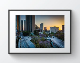 View of buildings and streets at sunset, in downtown Los Angeles, California | Photo Print, Metal, Canvas, Framed.