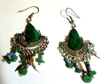 silver and green dangle earrings