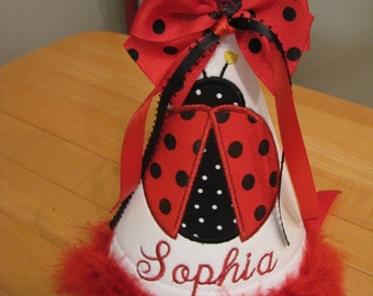 red ladybug birthday party hat, Girls first birthday hat,smash cake hat,1 st birthday hat, 2nd birthday hat name included