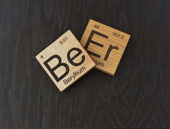 Wooden Coaster Inspired by the Periodic Table. Available in White Oak Wood. Home Decor-Bar Decor-Craft Beer-Man Cave-Home Brewer-Home Bar