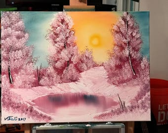 "18x24 Oil Painting Bob Ross Replica ""Winter Sun"""