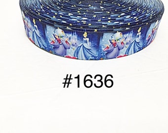 "3 or 5 yard - 1"" Princess Cinderella, Fairy God Mother and Castle Blue Grosgrain Ribbon Hair bow"