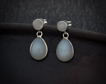 Moonstone Earrings, White Moonstone, Sterling Silver, Teardrop Earrings, Semi Precious Stone, Gemstone Earrings, June Birthstone