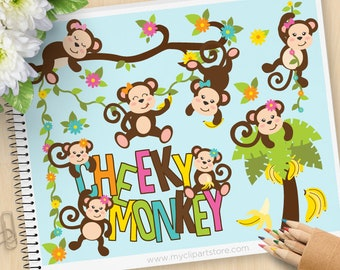 Cheeky Monkey Clipart, Girl Monkeys, Jungle Animals, Safari Animals, spring, flowers, tree, Commercial Use, Vector clip art, SVG Files