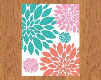 Floral Nursery Wall Art Print Coral Teal Pink Girls Room Bathroom Living room Family Room Decor  (3s1)