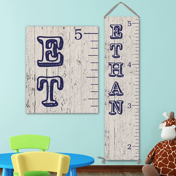 Boys Growth Chart - Wood Image on Canvas, Canvas Growth Chart, Boy Growth Chart for Boy Nursery - GC0100N_Vintag