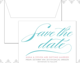Calligraphy Wedding Save the Date, Cursive save the date, Traditional save the date, classic and simple save the date, elegant save the date