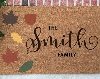 Personalized Fall Doormat // Hand-Painted Door Mat // Personalized Autumn Door Mat // Welcome Door Mat // Custom Door Mat // Fall Decor