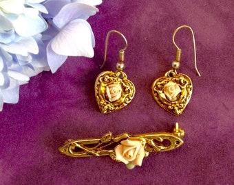 Vintage 1928 Jewelry set- Brooch and drop earrings