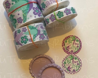 """7/8"""" 3/8"""" 1.5"""" USDR 12yd Hummingbird ribbon kit be free and fly 2 bottle caps with matching images"""