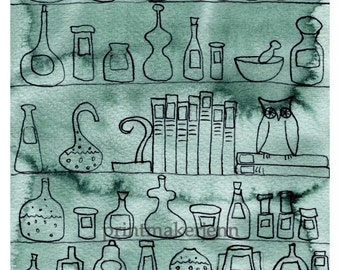Watercolor Painting: Watercolor Illustration -- Art Print --  Apothecary-s Cupboard -- 8x10