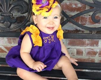LSU Monogrammed Romper for Baby Girls