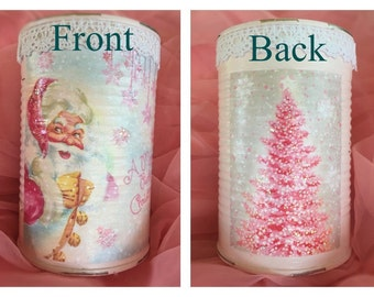 Pink Shabby Chic Christmas Can Vase Table Decor Centerpiece Decoupage Vintage Retro Santa Claus Christmas Tree Glitter Lace Lacy Decorations