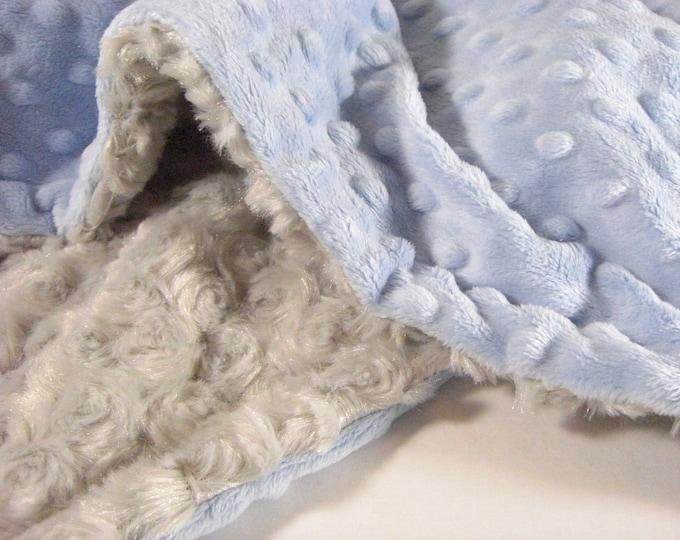 Light Blue and Gray Swirl Minky Blanket for Baby Boy