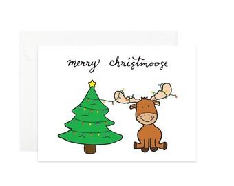 Christmas Moose Greeting Card | Christmas Card | Merry Christmoose | Holiday Card