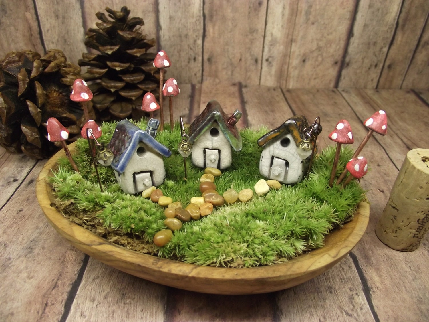Miniature Clay House Set of 3 houses 9 Glow in the Dark