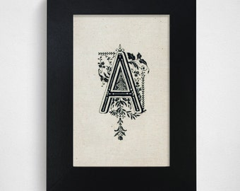 "SALE / Ready-to-Ship / Hand Drawn Original Monogram Letter A / 4x6"""